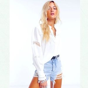 FREE PEOPLE Emma Button Down Shirt NWT XS Ivory